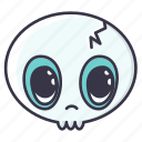 #fall, dead, emoji, halloween, monster, serious, skull icon