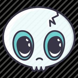#fall, dead, emoji, halloween, monster, serious, skull icon