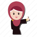 hijab, muslim, smiley, thumb icon