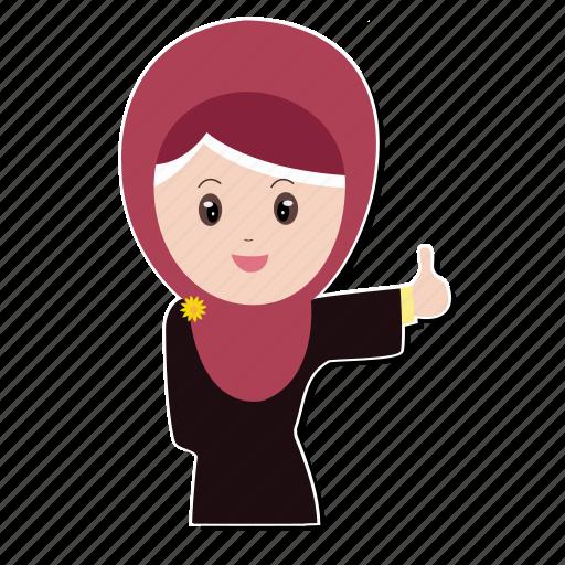 hijab, muslim, smiley, thumb icon