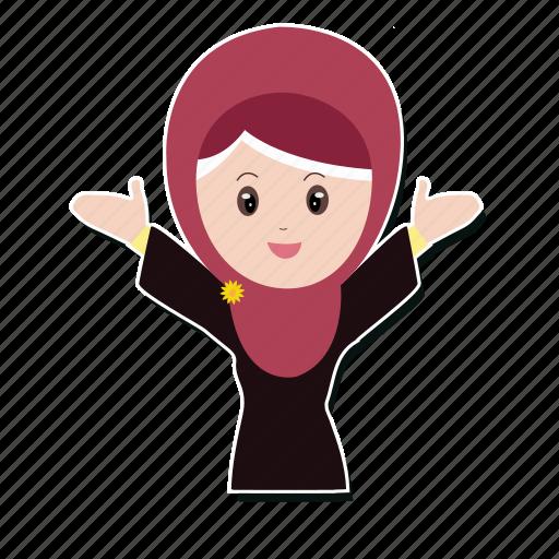 girl, happy, hijab, muslim, smile icon