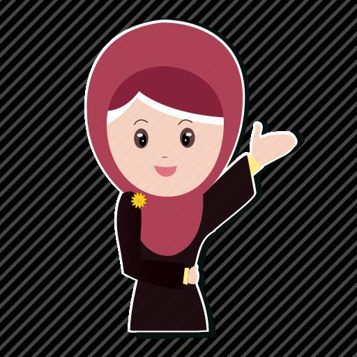 girl, hijab, muslim, smile icon