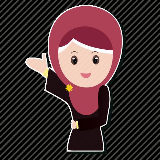 emoji, girl, hijab, smile icon
