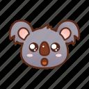 amazed, bright, emoticon, eyes, koala, shine icon