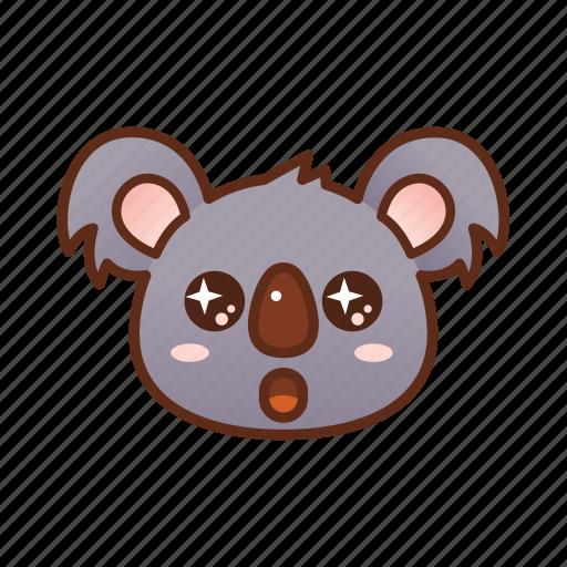bright, emoticon, eyes, koala, shine icon
