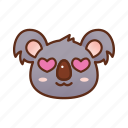 cute, emoticon, heart, koala, love, loveable icon