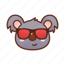 cool, emoticon, glasses, koala icon