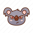 angry, emoticon, koala, mad icon