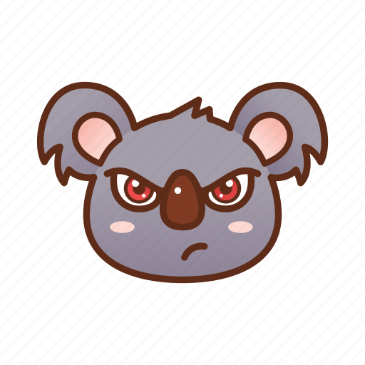 angry, emoticon, koala, mad icon