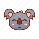 cute, emoticon, koala, smile icon