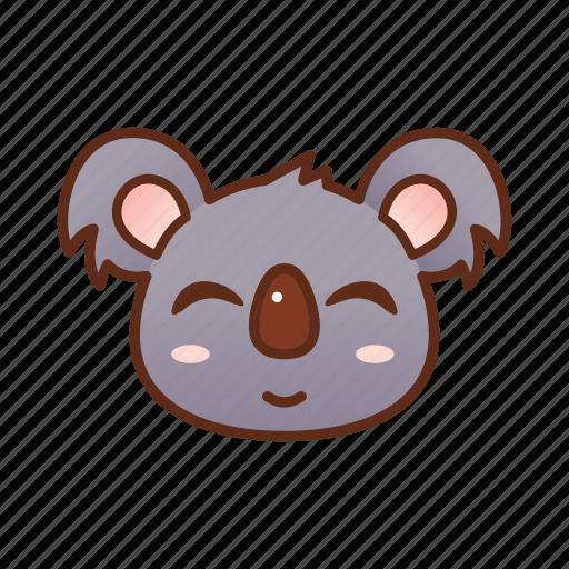 cute, emoticon, koala, smile icon