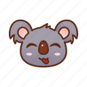 cute, emoticon, koala, tongue icon