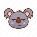 cute, emoticon, koala, sleep icon