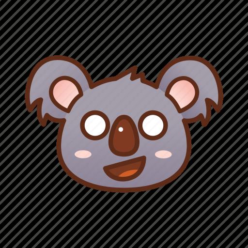 emoticon, koala, shocked icon