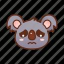 cry, emoticon, koala, sad icon