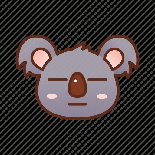 emoticon, flat face, koala icon