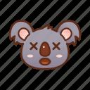 cross eyes, emoticon, koala, surprised icon