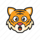 emoticon, tiger, amazed, surprised
