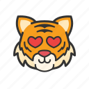 cute, emoticon, heart, love, tiger icon