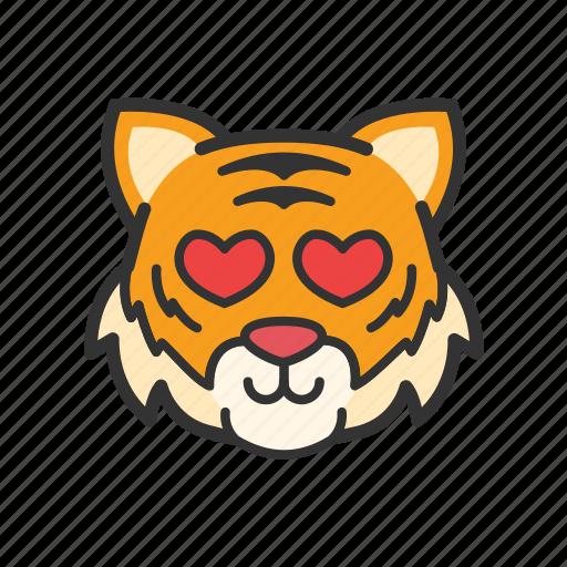 cute, emoticon, heart, love, tiger icon
