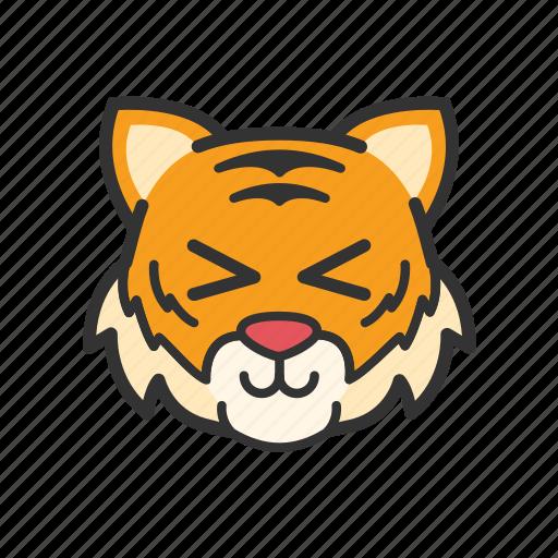 cute, emoticon, funny, smile, tiger icon
