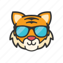 emoticon, tiger, cool, glasses