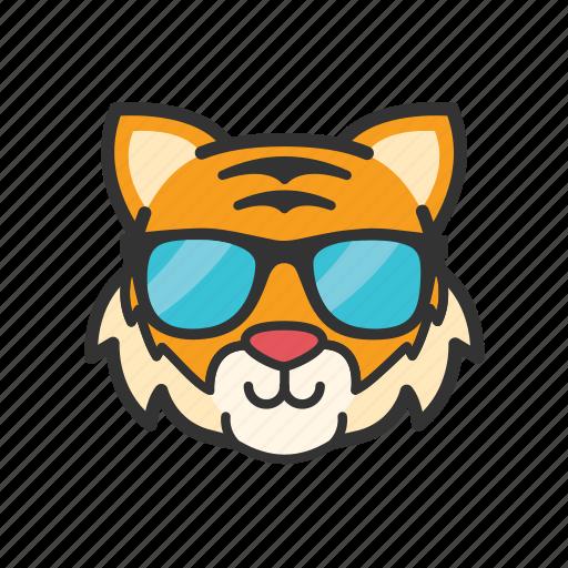 cool, emoticon, glasses, tiger icon