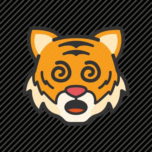 confused, emoticon, tiger icon