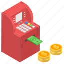 atm machine, cash withdrawal, dollar atm, financial transaction, instant banking, payment gateway icon