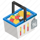food hamper, fruit bucket, grocery buying, grocery purchasing, grocery shopping