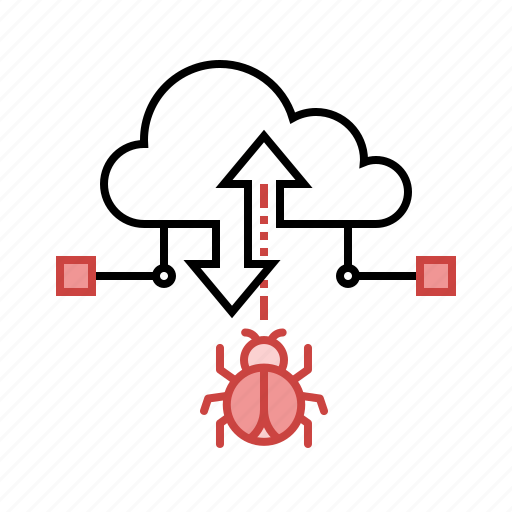 attack, bug, cloud, data, malware, secure, unsafe icon