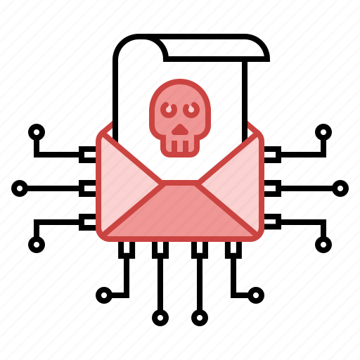 attack, email, hacking, mail, spam, unsecure, virus icon