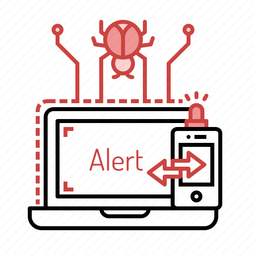 alarm, alert, attack, bug, detect, hacking, notification icon