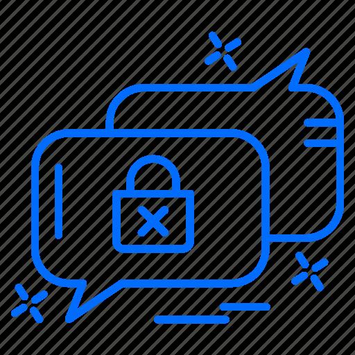 conversation, cyber, hacker, lock, security icon