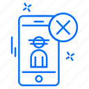cyber, hacker, phone, protection, user icon