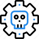 crime, gear, hacking, process, protect, skull icon