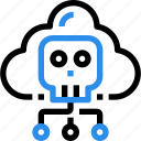 cloud, connect, crime, hacking, protect, skull icon