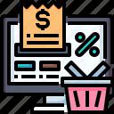 shopping, check, basket, online, computer, bill