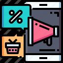 smartphone, sale, megaphone, basket, discounts