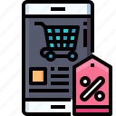 shopping, smartphone, discount, cart, tag, sale