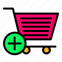 add, basket, cart, shopping, trolley icon