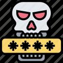 data, breach, passwords, threat, skull icon