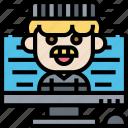online, prisoner, criminal, computer, arrested icon