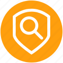 find, magnifier, protection, search, security, shield