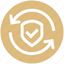 accept, arrows, protection, security, shield, sync icon