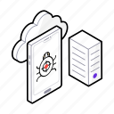 bug attack, internet virus, malware, server attack, virus attack icon