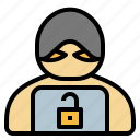 crime, cyber, hack, hacker, harm, online icon
