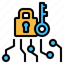 cyber, key, lock, online, protection, security, system icon