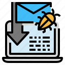 bug, crime, cyber, hack, mail, spam, virus icon