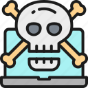 computer, crossbones, hacker, phishing, scam, skull, virus icon